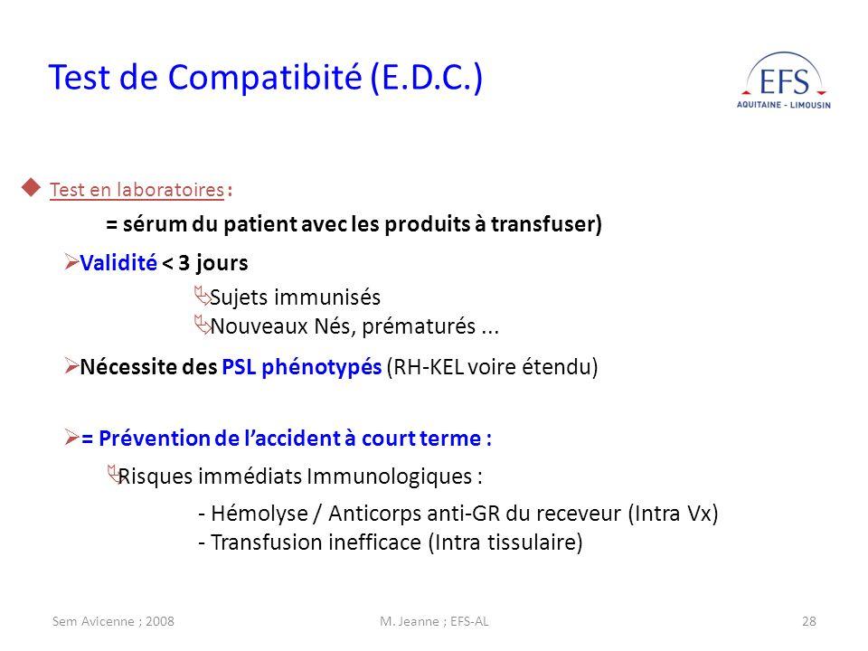 Test de Compatibité (E.D.C.)