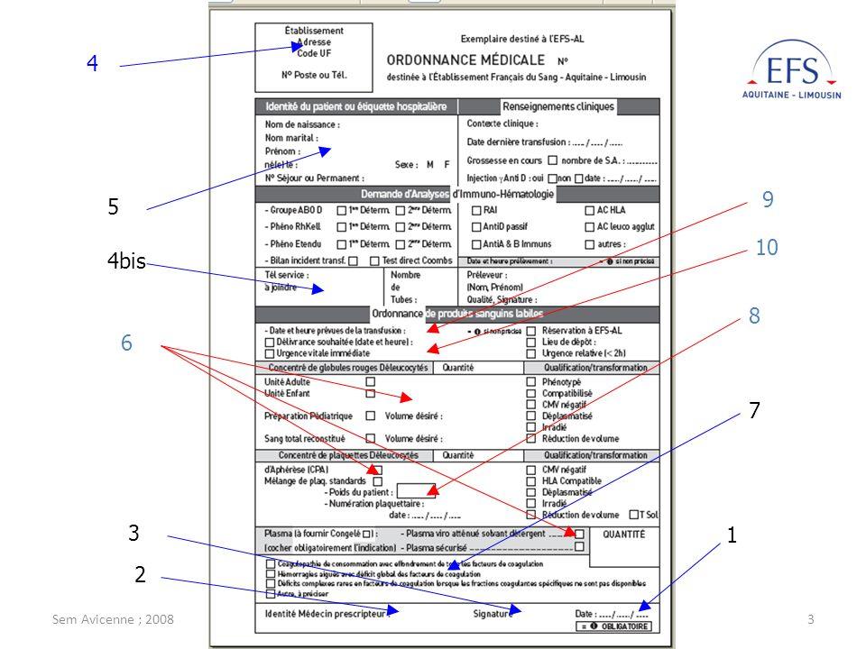 1 2 3 4 4bis 5 6 7 8 9 10 Sem Avicenne ; 2008 M. Jeanne ; EFS-AL