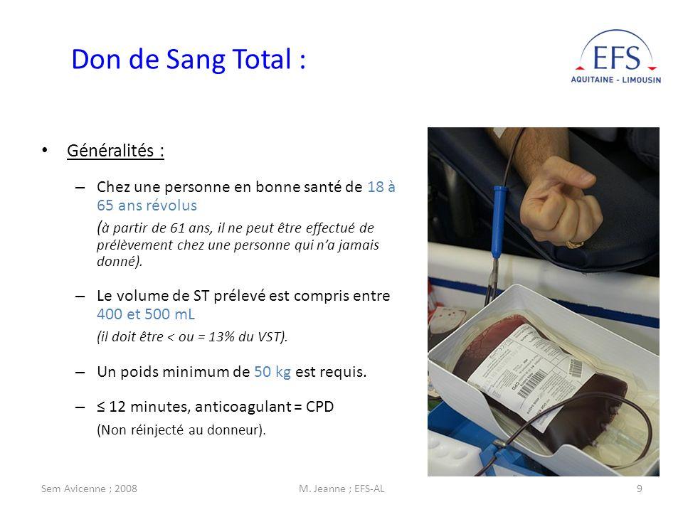 Don de Sang Total : Généralités :