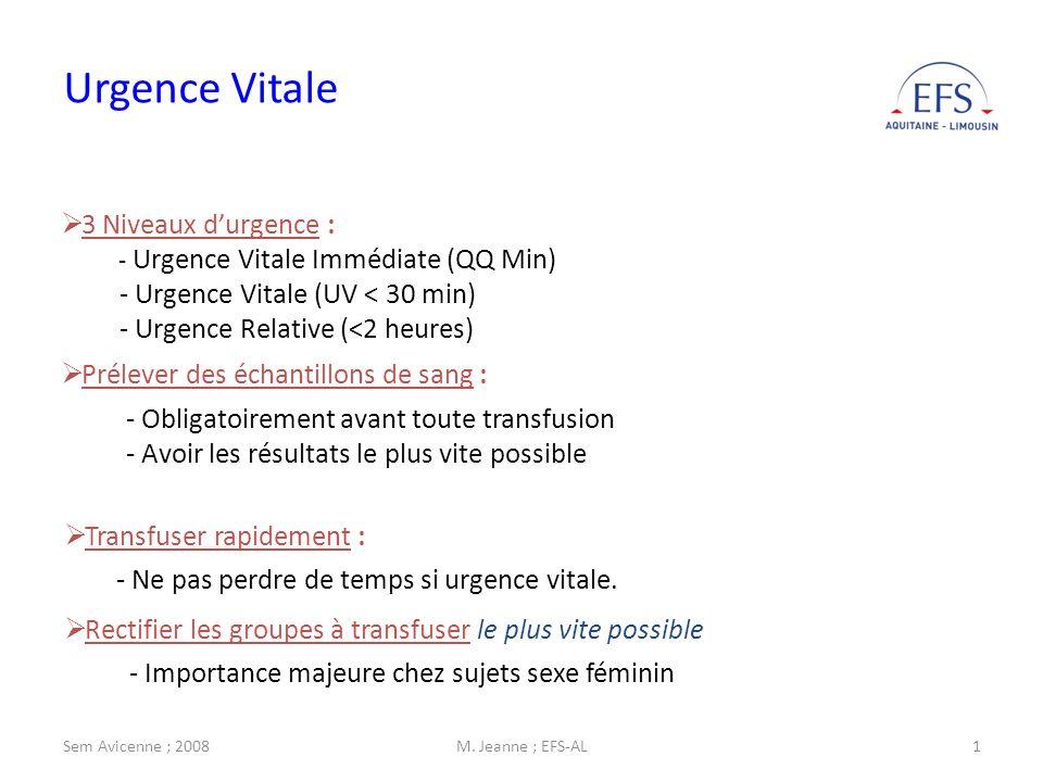 Urgence Vitale 3 Niveaux d'urgence : - Urgence Vitale (UV < 30 min)