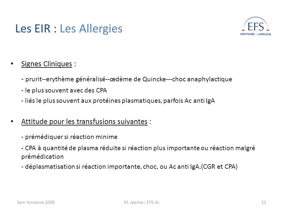 Les EIR : Les AllergiesSignes Cliniques : - prurit--erythème généralisé--œdème de Quincke---choc anaphylactique.