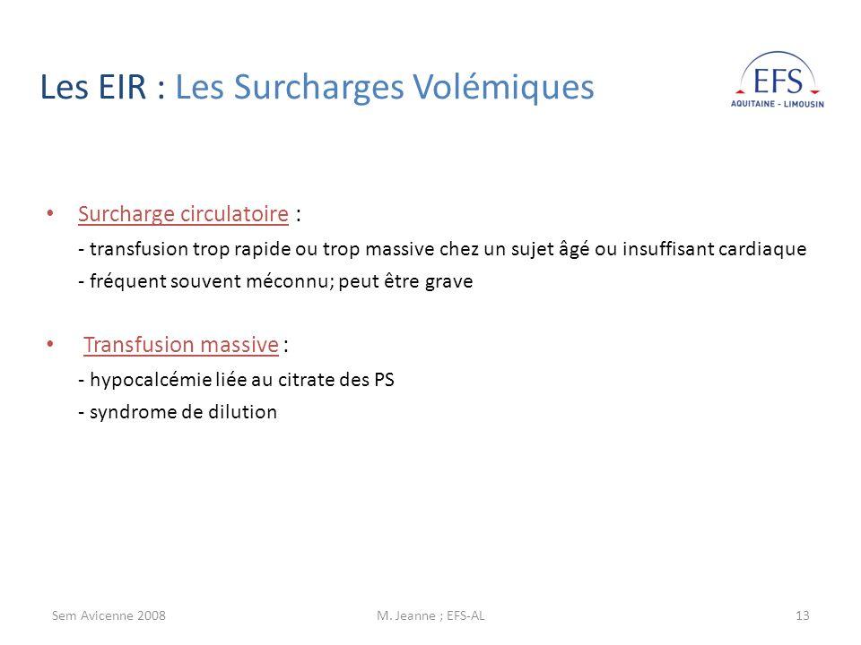 Les EIR : Les Surcharges Volémiques