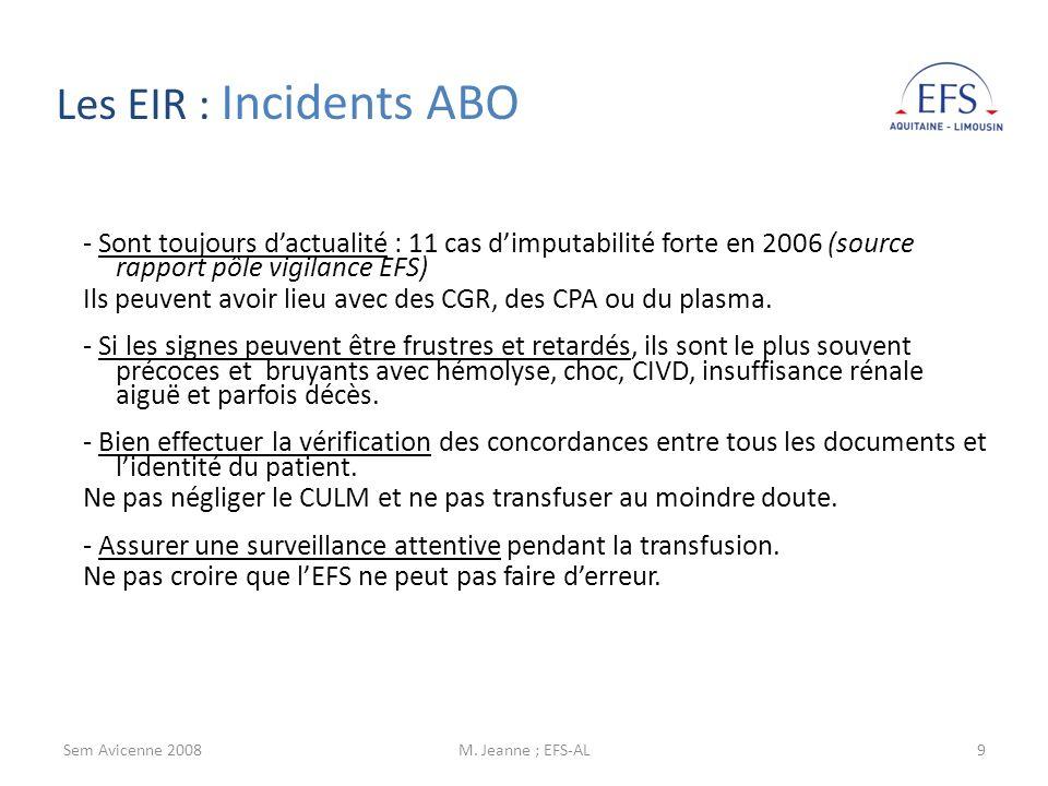 Les EIR : Incidents ABO- Sont toujours d'actualité : 11 cas d'imputabilité forte en 2006 (source rapport pôle vigilance EFS)