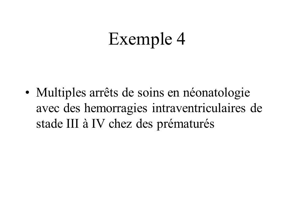 Exemple 4Multiples arrêts de soins en néonatologie avec des hemorragies intraventriculaires de stade III à IV chez des prématurés.
