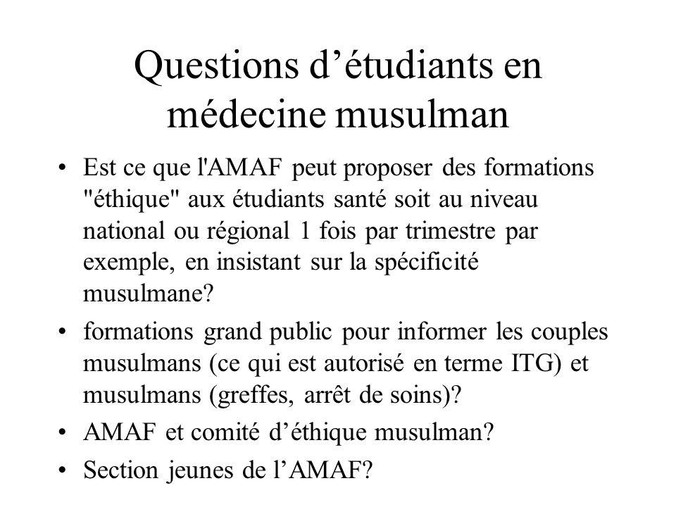 Questions d'étudiants en médecine musulman