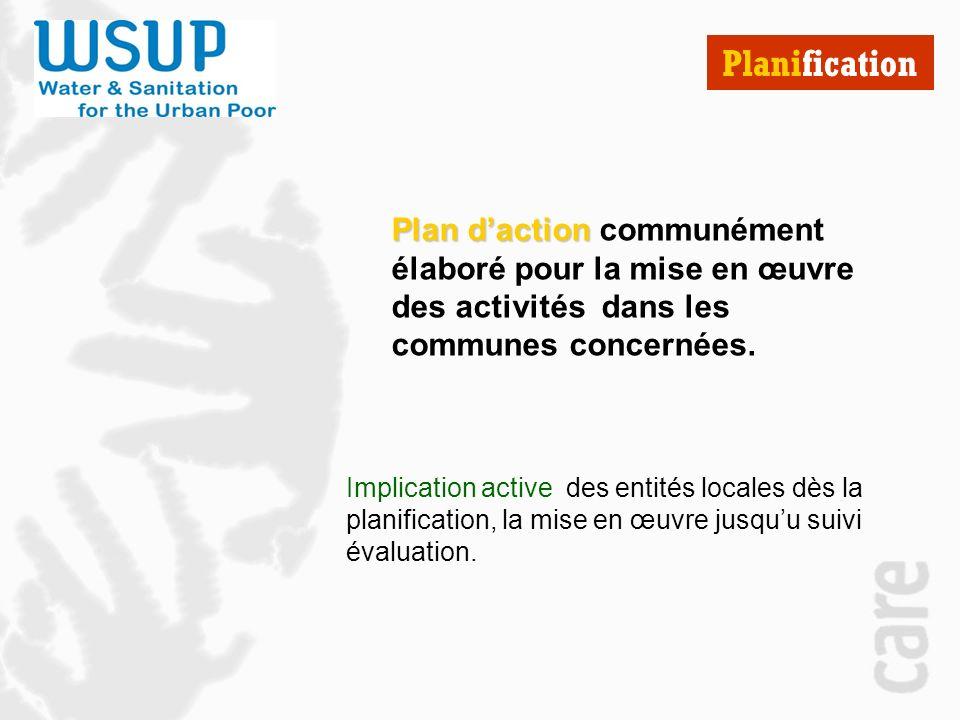 Planification Plan d'action communément élaboré pour la mise en œuvre des activités dans les communes concernées.