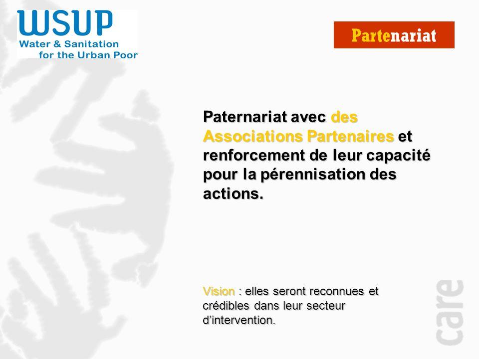 Partenariat Paternariat avec des Associations Partenaires et renforcement de leur capacité pour la pérennisation des actions.