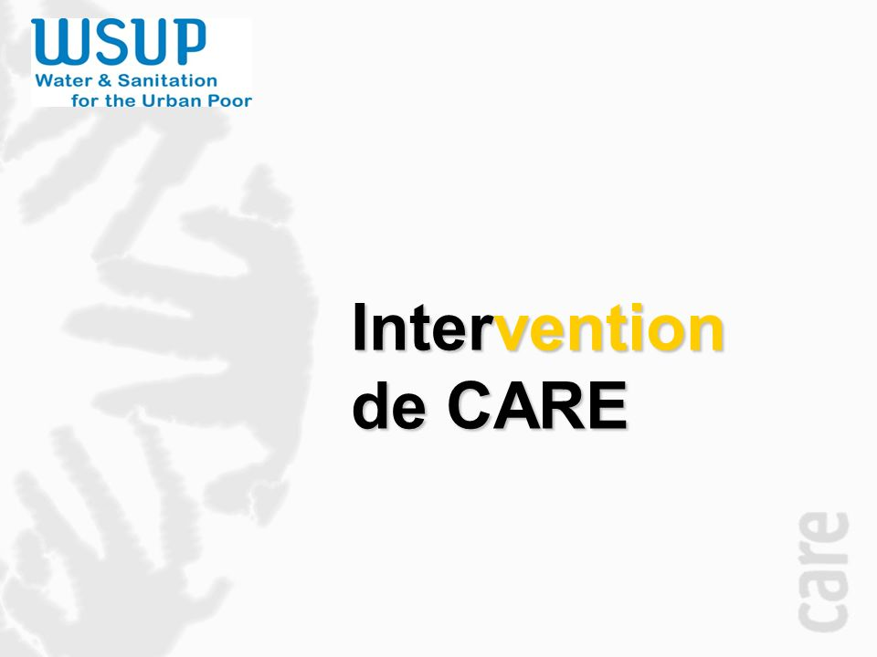 Intervention de CARE