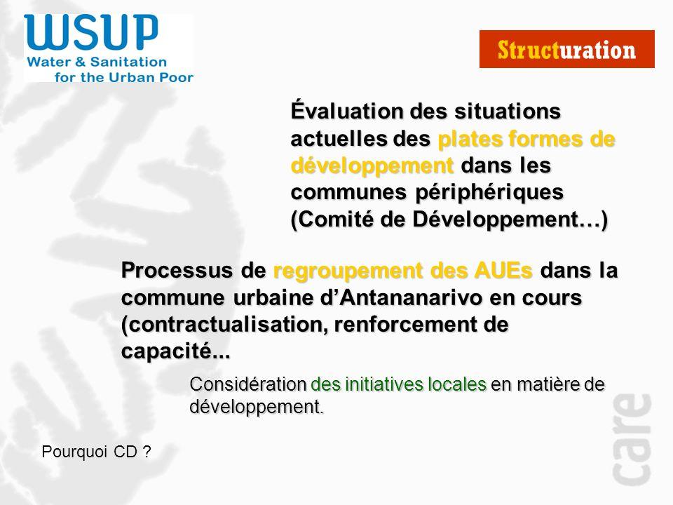 Structuration Évaluation des situations actuelles des plates formes de développement dans les communes périphériques (Comité de Développement…)