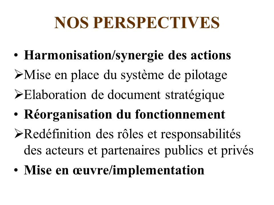 NOS PERSPECTIVES Harmonisation/synergie des actions