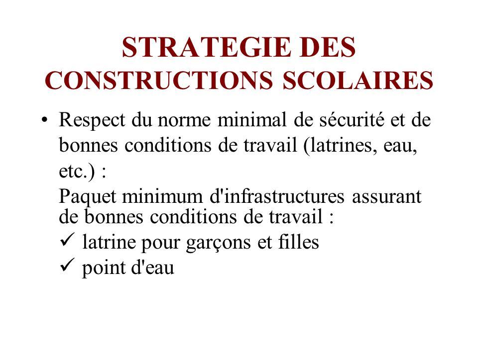 STRATEGIE DES CONSTRUCTIONS SCOLAIRES