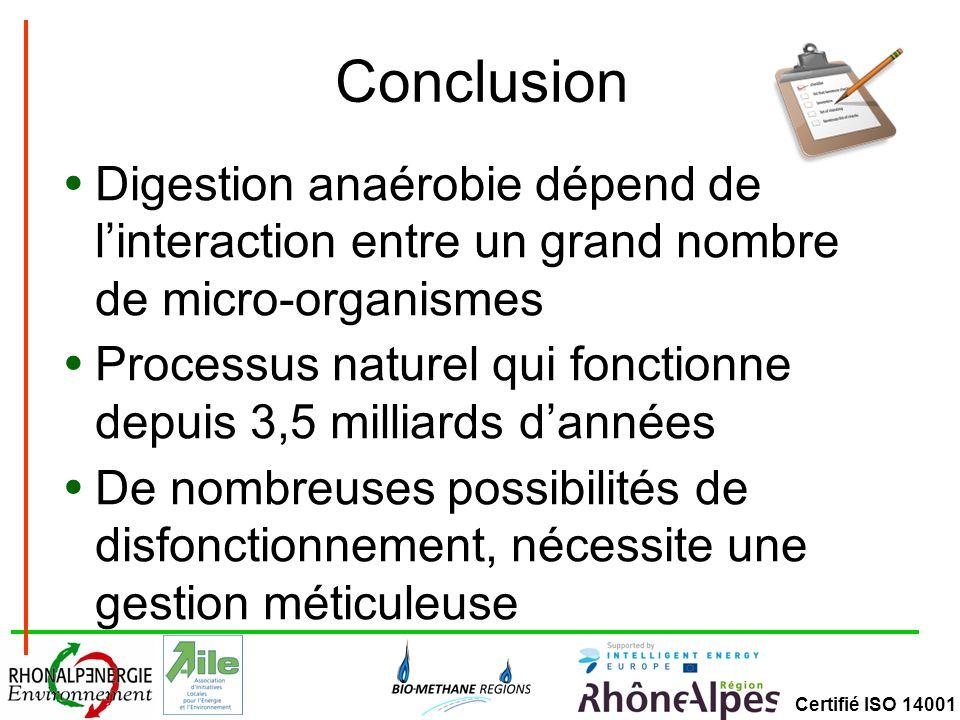 Conclusion Digestion anaérobie dépend de l'interaction entre un grand nombre de micro-organismes.