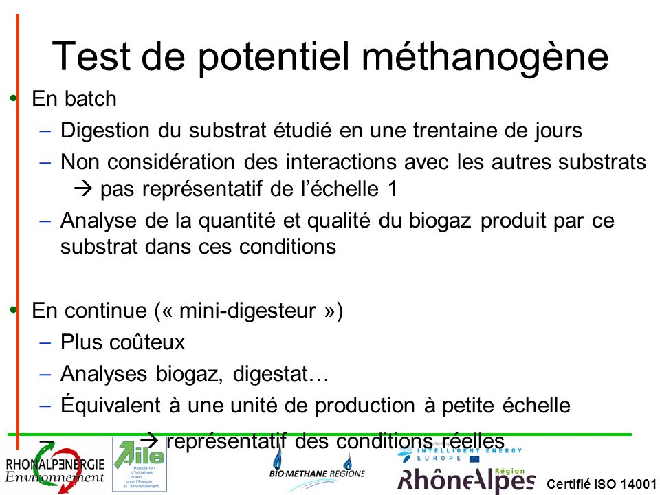 Test de potentiel méthanogène