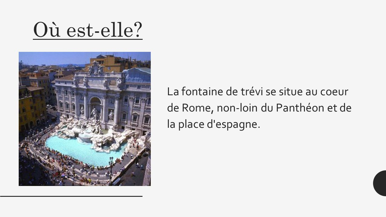 a presentation about fontana di trevi Trevi fountain (fontana di trevi) is ranked #1 out of 21 things to do in rome see  pictures and our review of trevi fountain (fontana di trevi.