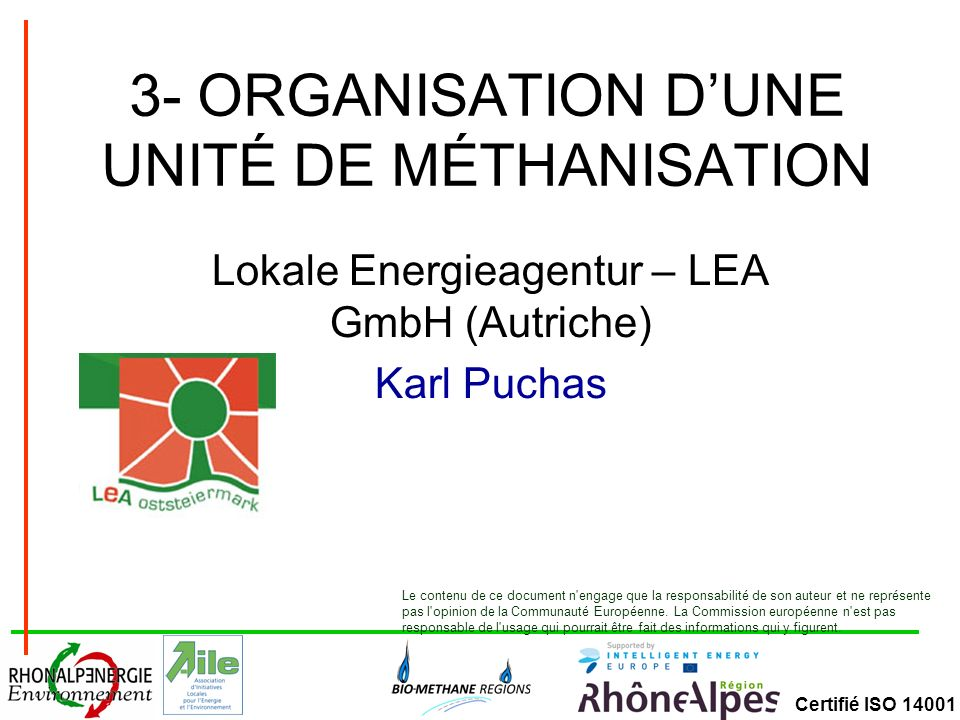3- ORGANISATION D'UNE UNITÉ DE MÉTHANISATION