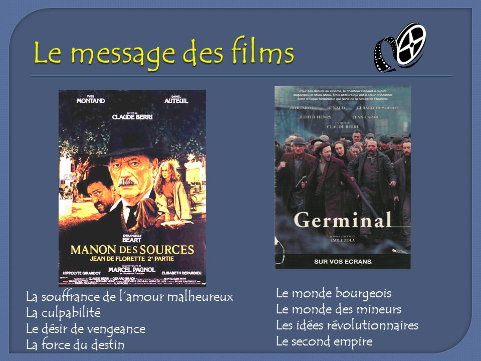 Le message des films Le monde bourgeois