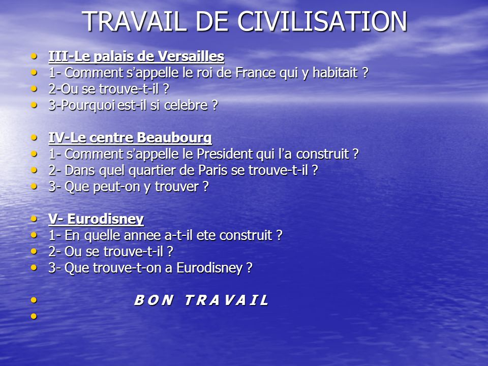 TRAVAIL DE CIVILISATION