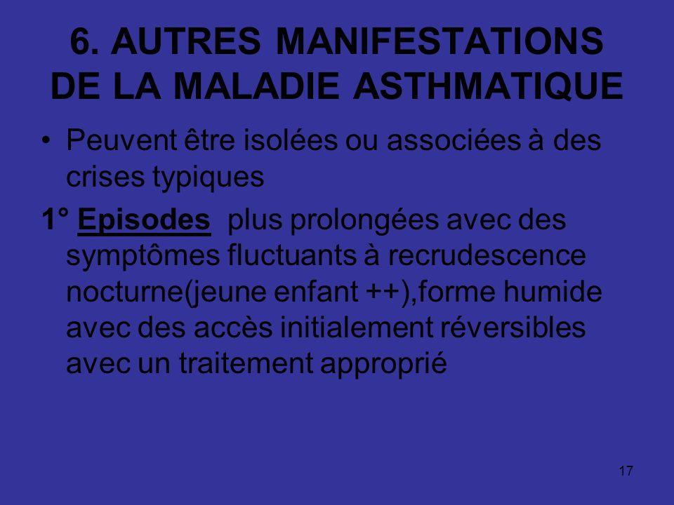 6. AUTRES MANIFESTATIONS DE LA MALADIE ASTHMATIQUE