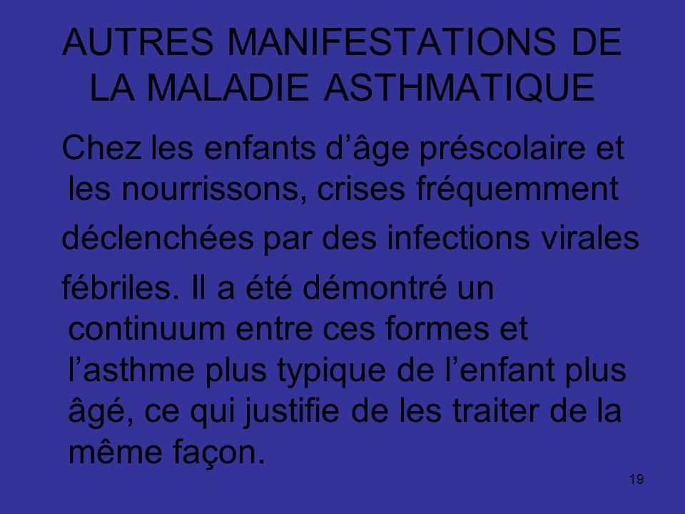 AUTRES MANIFESTATIONS DE LA MALADIE ASTHMATIQUE