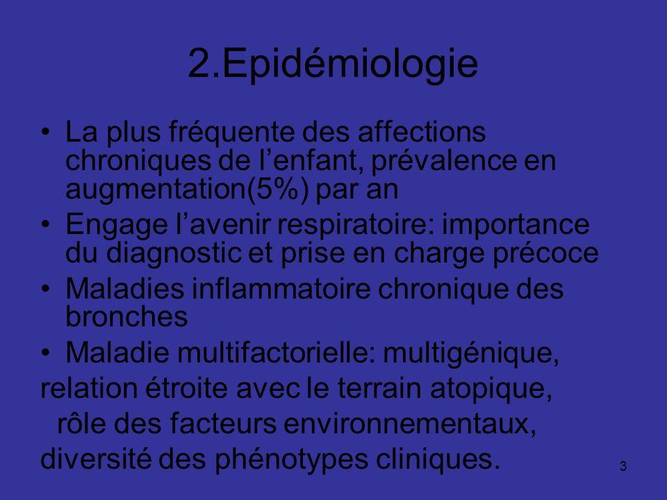 2.Epidémiologie La plus fréquente des affections chroniques de l'enfant, prévalence en augmentation(5%) par an.