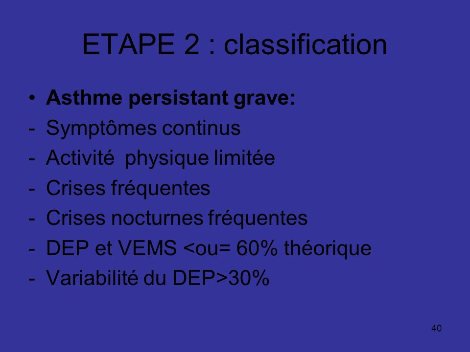 ETAPE 2 : classification