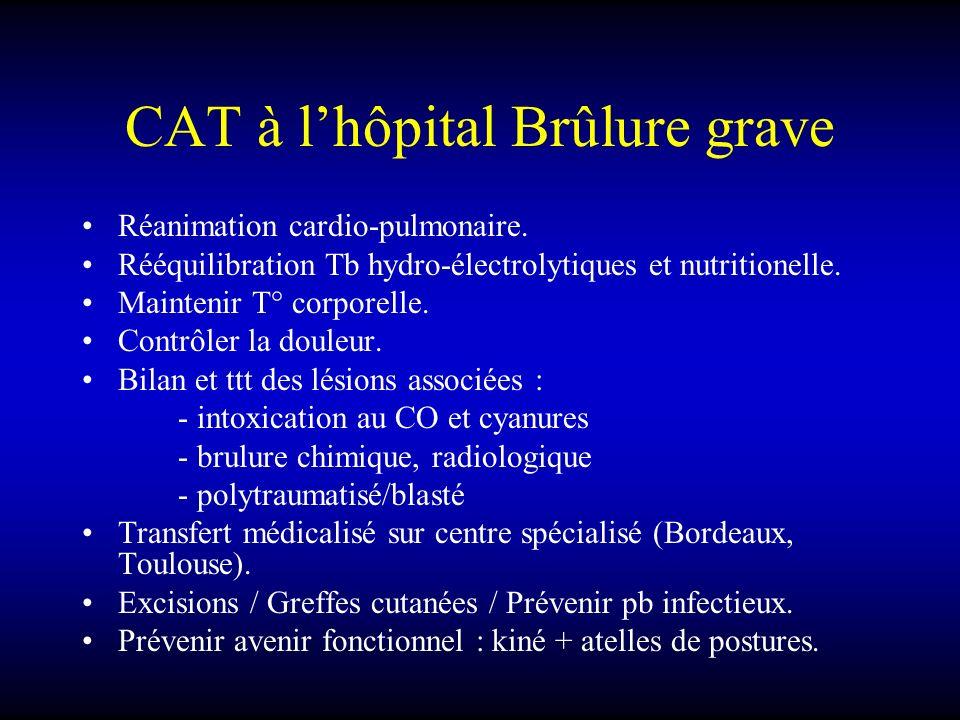 CAT à l'hôpital Brûlure grave