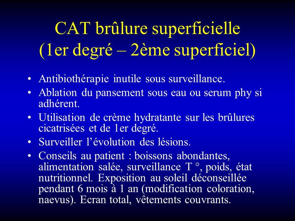 CAT brûlure superficielle (1er degré – 2ème superficiel)