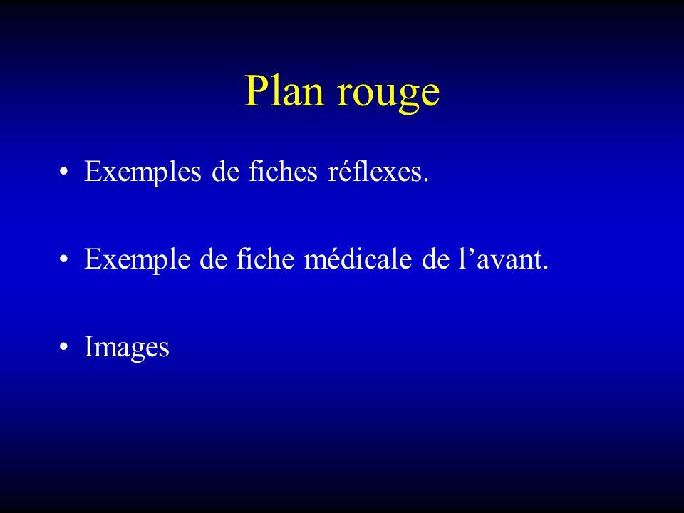 Plan rouge Exemples de fiches réflexes.