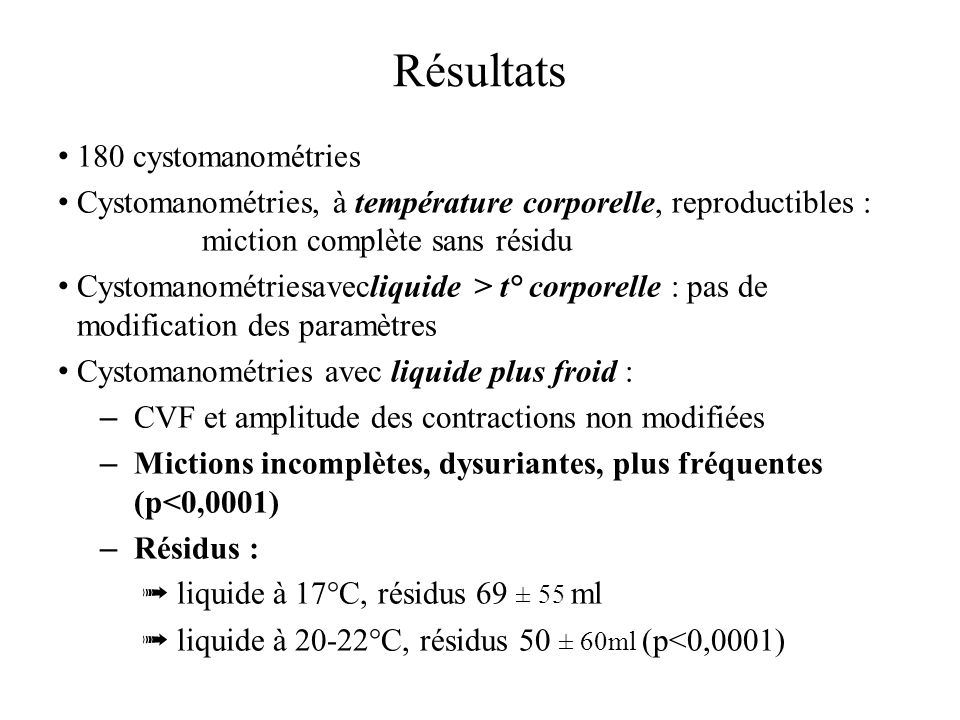 Résultats 180 cystomanométries