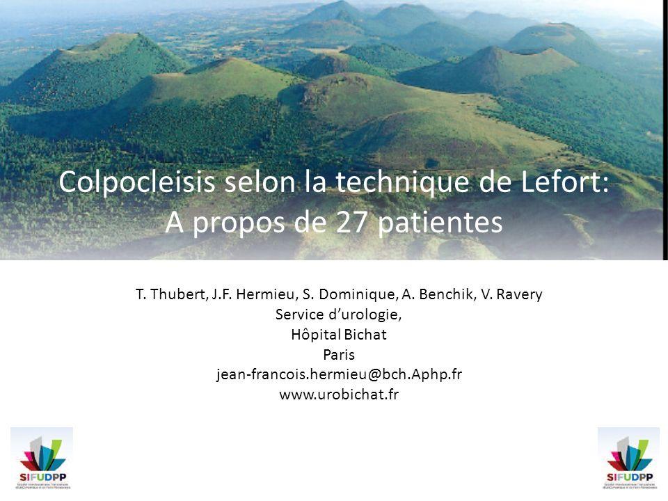 Colpocleisis selon la technique de Lefort: A propos de 27 patientes