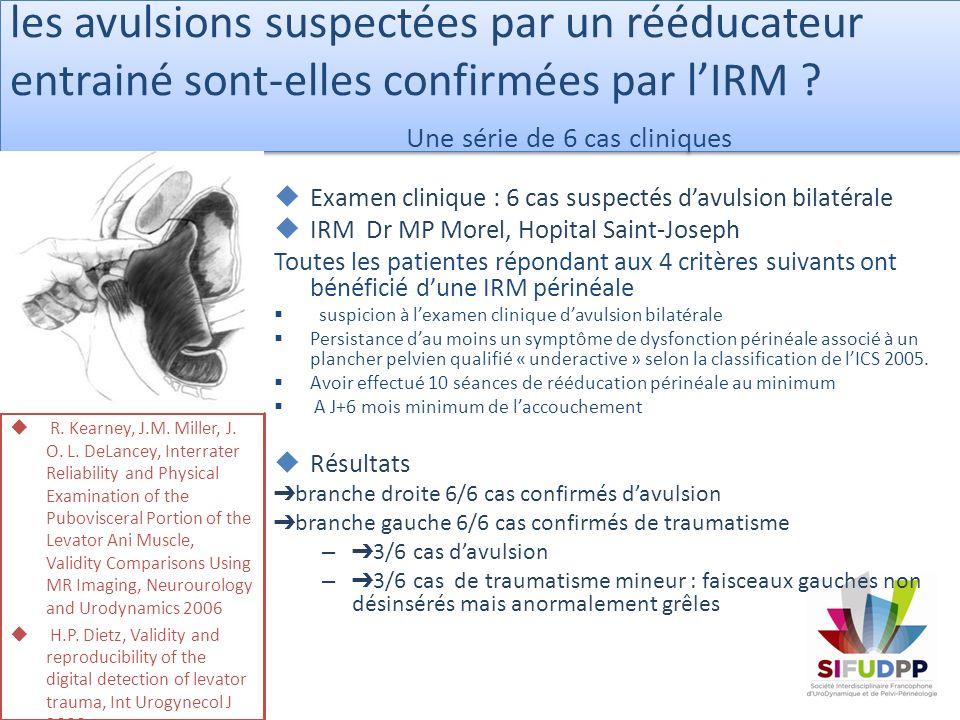 les avulsions suspectées par un rééducateur entrainé sont-elles confirmées par l'IRM Une série de 6 cas cliniques