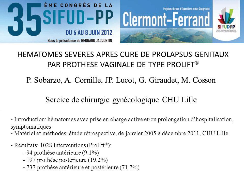 HEMATOMES SEVERES APRES CURE DE PROLAPSUS GENITAUX PAR PROTHESE VAGINALE DE TYPE PROLIFT®