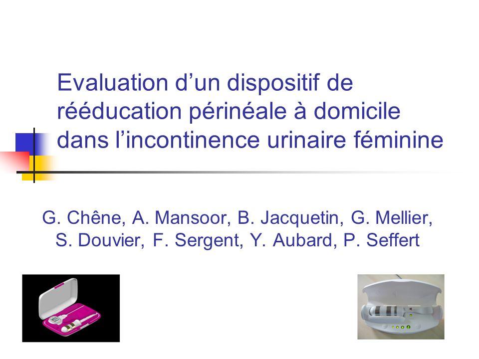 Evaluation d'un dispositif de rééducation périnéale à domicile dans l'incontinence urinaire féminine
