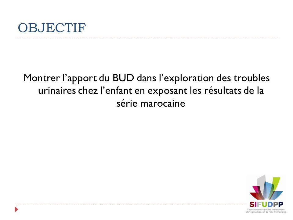 OBJECTIF Montrer l'apport du BUD dans l'exploration des troubles urinaires chez l'enfant en exposant les résultats de la série marocaine.