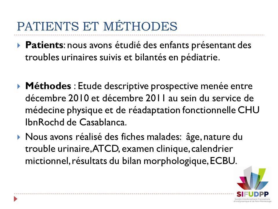 PATIENTS ET MÉTHODES Patients: nous avons étudié des enfants présentant des troubles urinaires suivis et bilantés en pédiatrie.