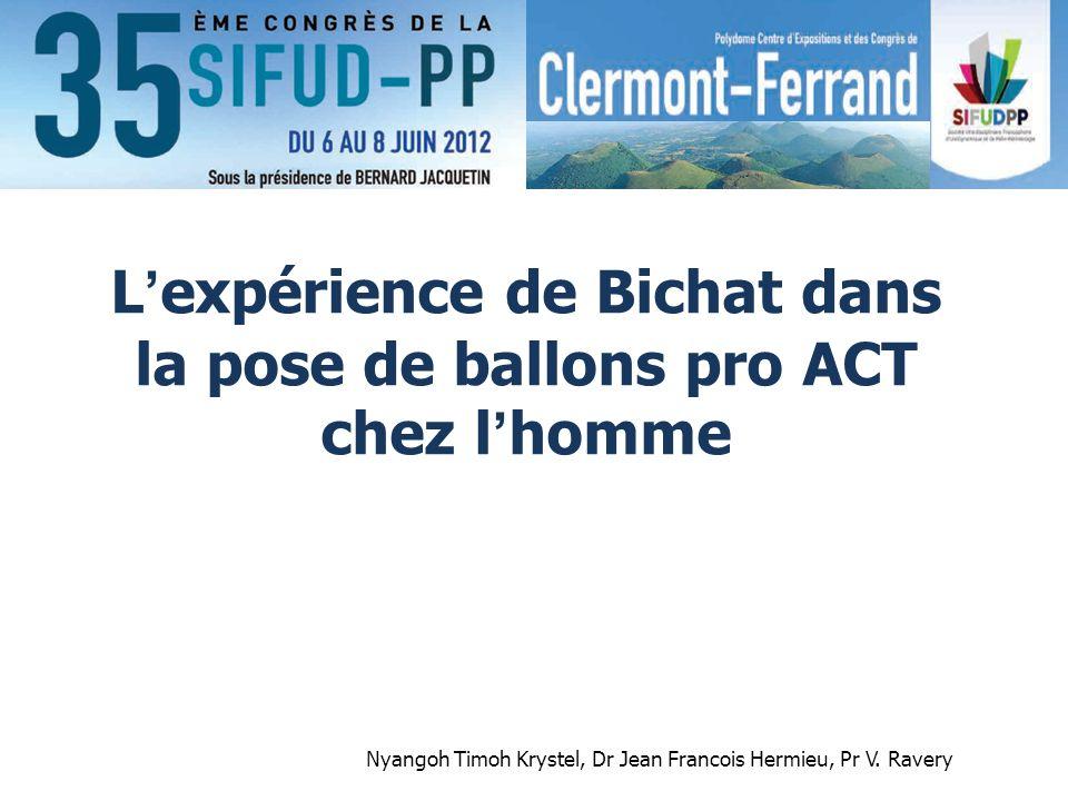 L'expérience de Bichat dans la pose de ballons pro ACT chez l'homme