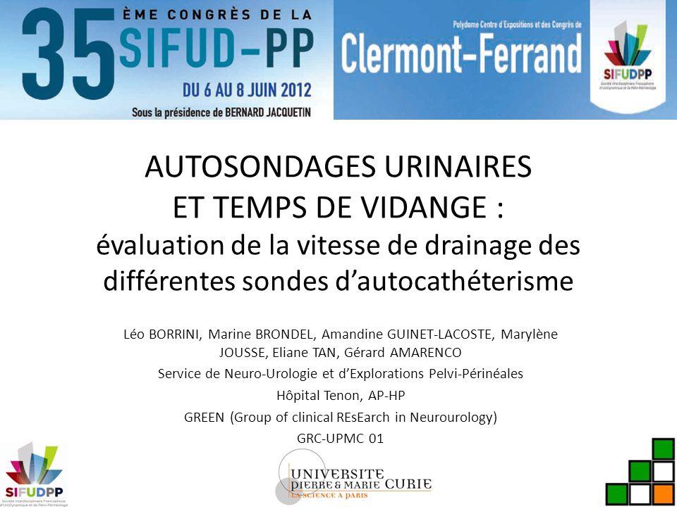 AUTOSONDAGES URINAIRES ET TEMPS DE VIDANGE : évaluation de la vitesse de drainage des différentes sondes d'autocathéterisme