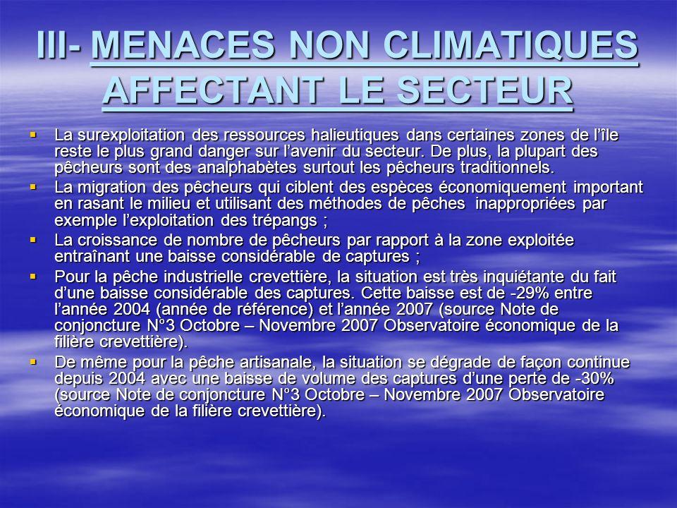 III- MENACES NON CLIMATIQUES AFFECTANT LE SECTEUR