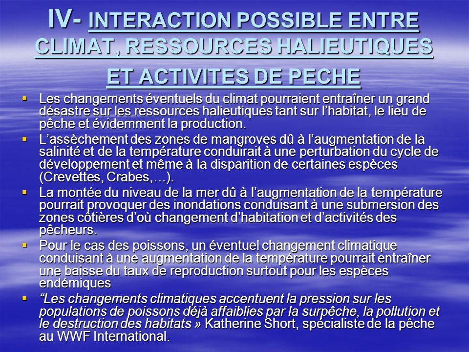 IV- INTERACTION POSSIBLE ENTRE CLIMAT, RESSOURCES HALIEUTIQUES ET ACTIVITES DE PECHE