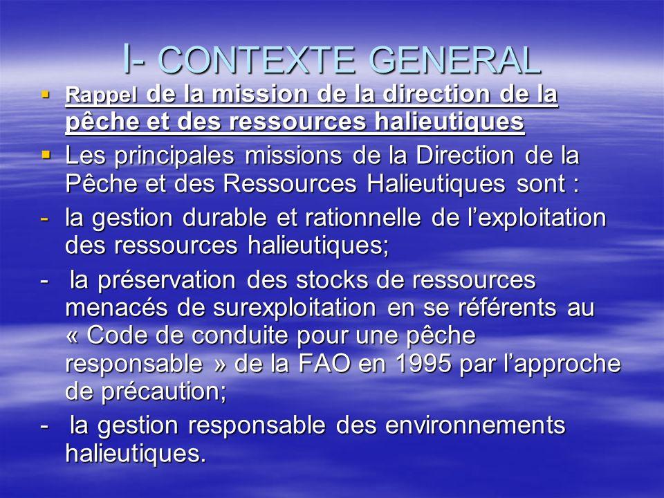 I- CONTEXTE GENERAL Rappel de la mission de la direction de la pêche et des ressources halieutiques.