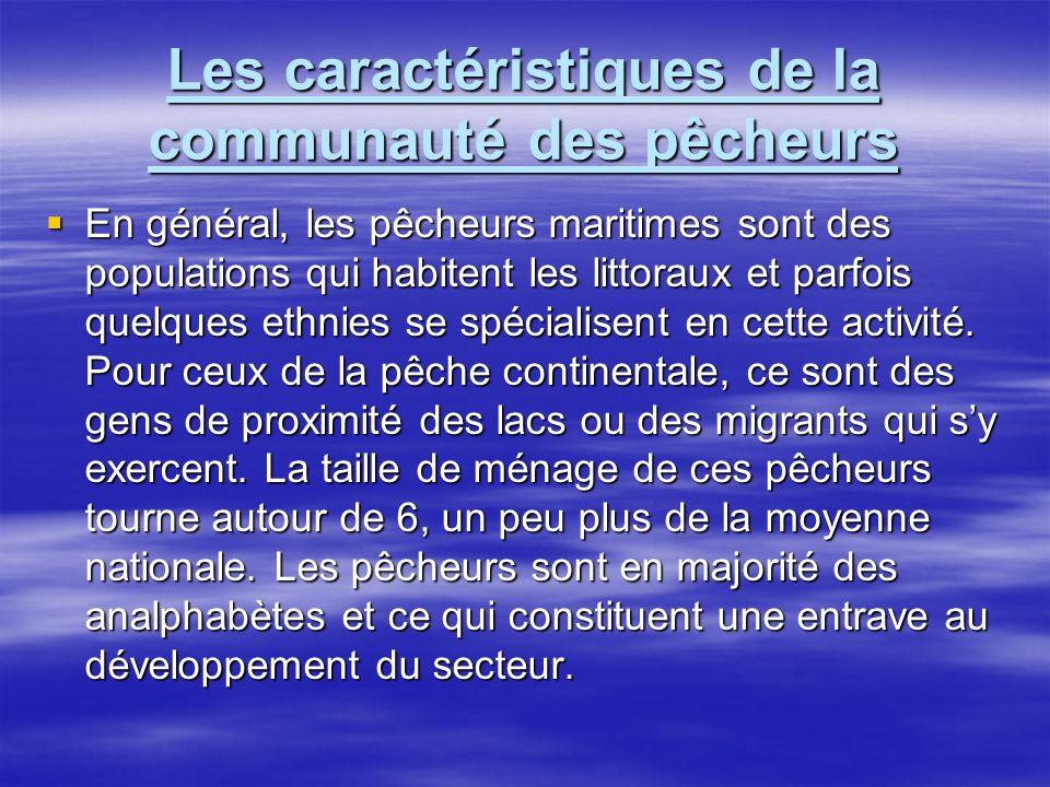 Les caractéristiques de la communauté des pêcheurs