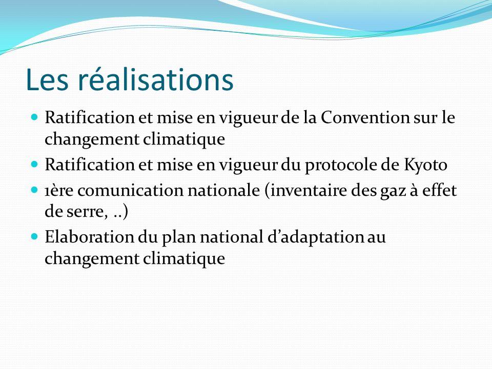 Les réalisationsRatification et mise en vigueur de la Convention sur le changement climatique. Ratification et mise en vigueur du protocole de Kyoto.
