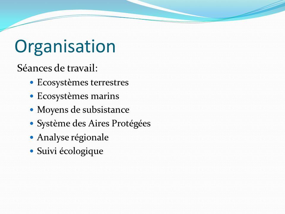 Organisation Séances de travail: Ecosystèmes terrestres