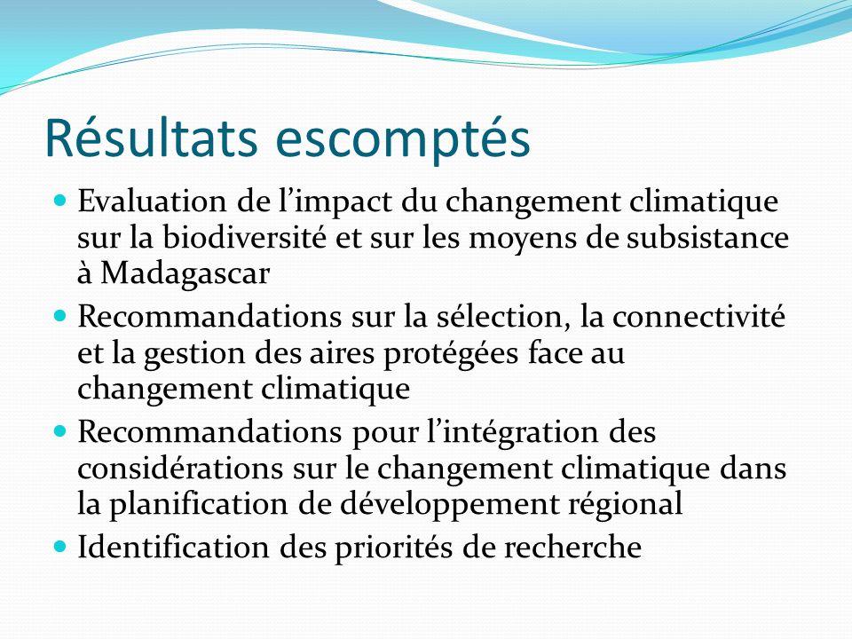 Résultats escomptésEvaluation de l'impact du changement climatique sur la biodiversité et sur les moyens de subsistance à Madagascar.