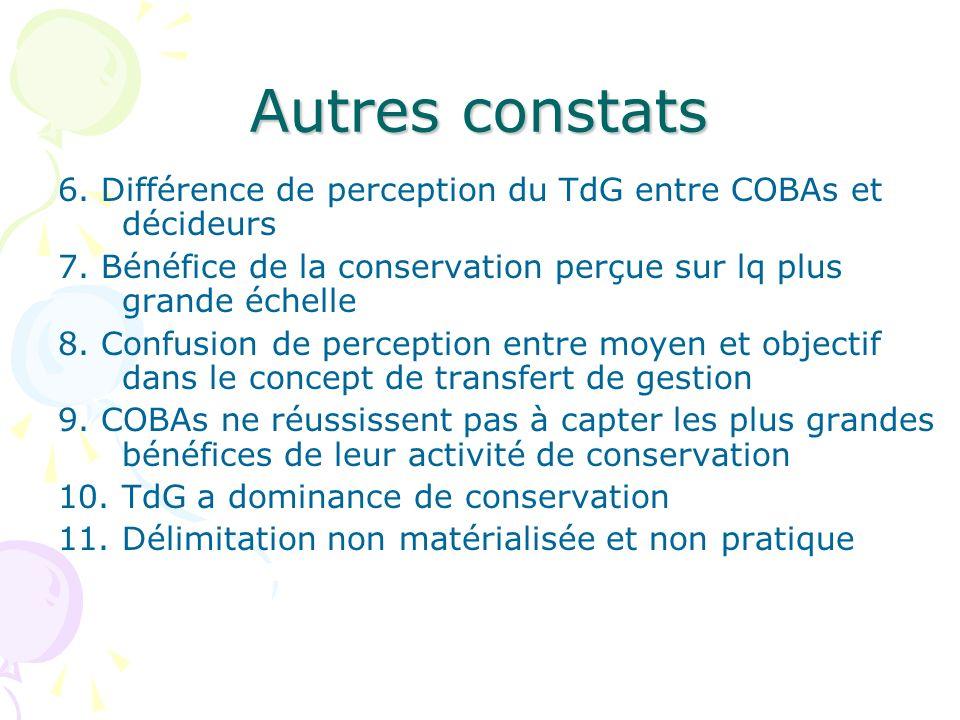 Autres constats6. Différence de perception du TdG entre COBAs et décideurs. 7. Bénéfice de la conservation perçue sur lq plus grande échelle.