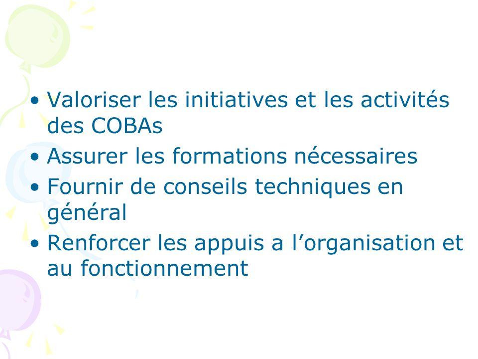 Valoriser les initiatives et les activités des COBAs