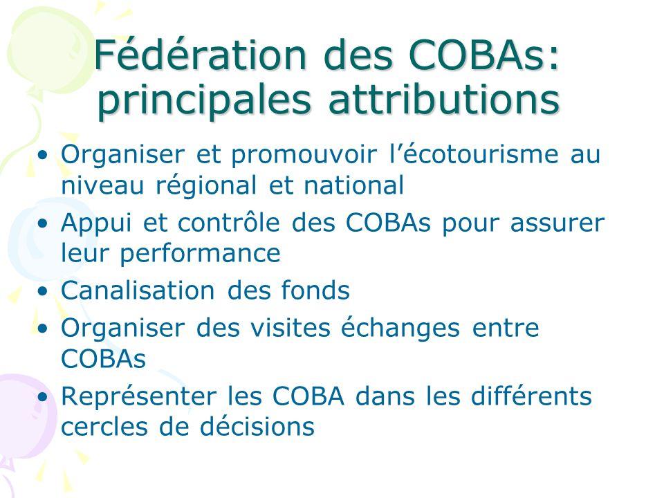 Fédération des COBAs: principales attributions