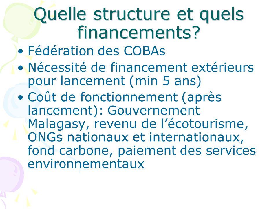 Quelle structure et quels financements