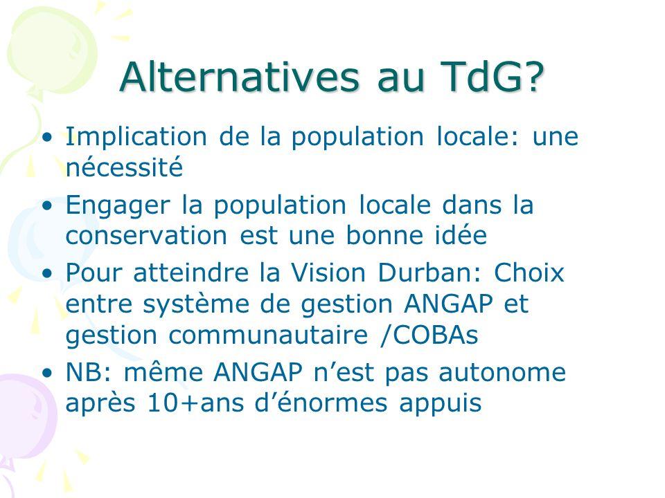 Alternatives au TdG Implication de la population locale: une nécessité. Engager la population locale dans la conservation est une bonne idée.