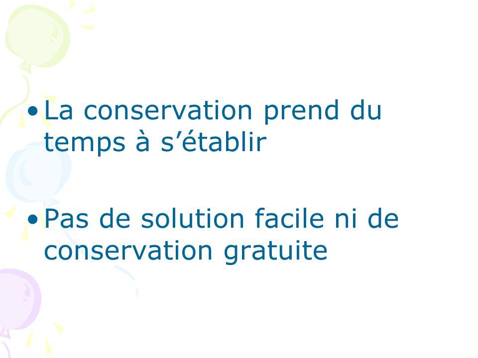 La conservation prend du temps à s'établir